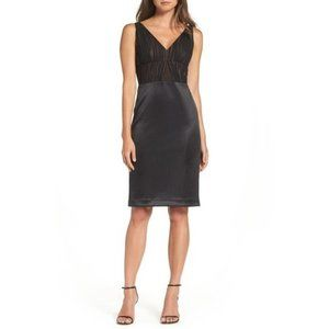 Vera Wang V-Neck Sleeveless Ruched Sheath Dress